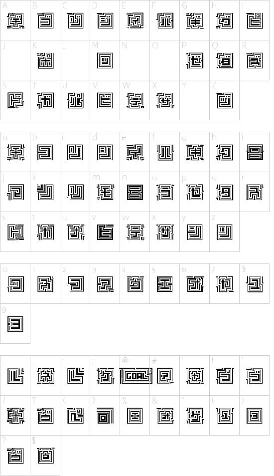 D3 Labyrinthism katakana Schriftart Font Download Kostenlos